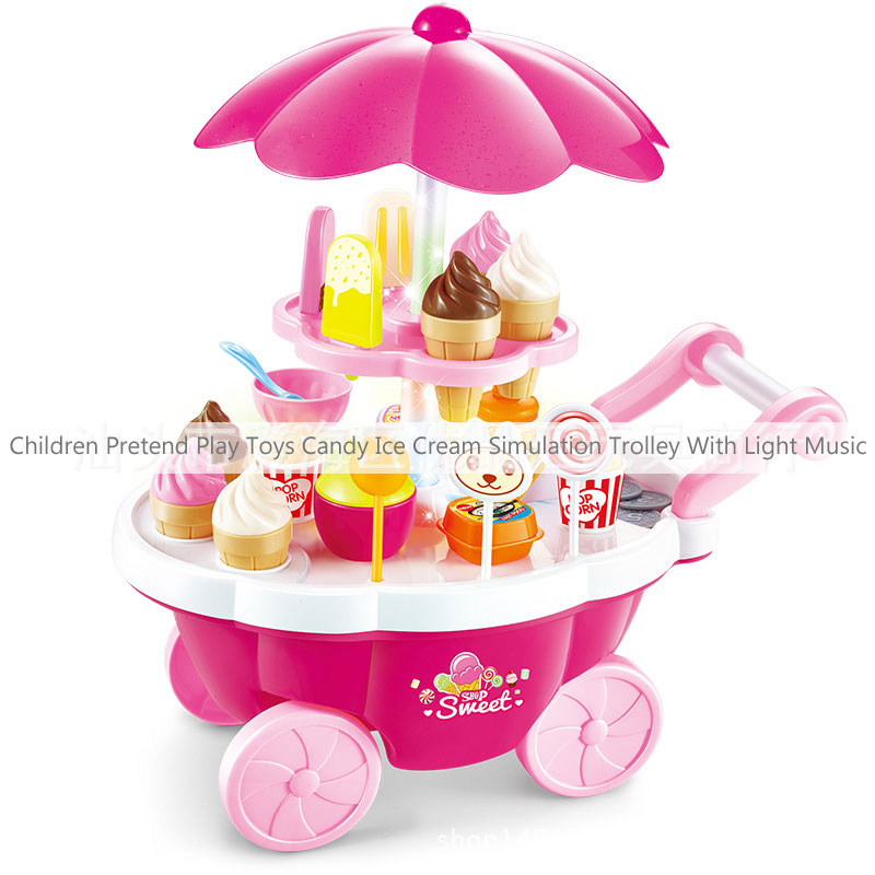 Children Pretend Play Toys Candy Ice Cream Simulation Trolley With Light Music